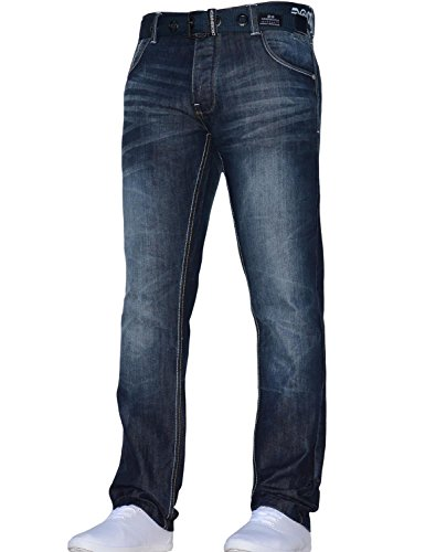 Regular Elegante Girovita Dark All Con Cintura Jeans Denim Uomo Classico Dritta Gamba Fit Crosshatch Blue Techno wn41WqRC