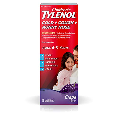 Children's Tylenol Cold + Cough + Runny Nose & Fever Medicine with Acetaminophen, Grape, 4 fl. oz ()