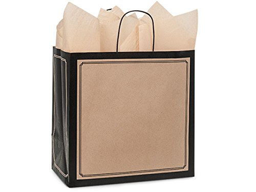 Pack Of 25, Filly 13 x 7 x 13'' Solid Black & Kraft Duets Shopping Bag Made In USA by Generic (Image #1)