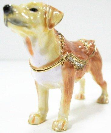 Labrador Retriever Lab Hunting Dog Puppy Tiffany Style Trinket Jewelry Rhinestone Jeweled Storage Box, Hand Painted (TJ1395)