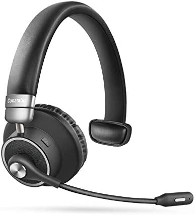 Bluetooth Headset 5.0, Pro 24 Hrs Talktime Noise Cancelling Wireless Headset with Mute Button for Cell Phones Business Office Trucker-M91