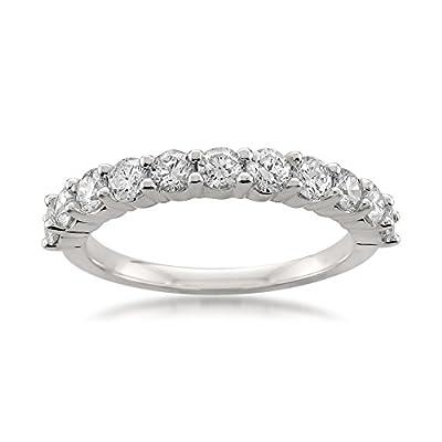 Platinum 11-Stone Round Diamond Bridal Wedding Band Ring (1 cttw, H-I, VS1-VS2)