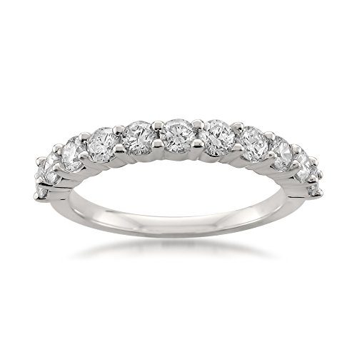 Platinum 11 Stone Round Diamond Bridal Wedding Band Ring (1 cttw, H I, VS2 SI1)