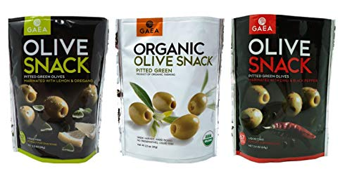 Gaea Non-GMO Pitted Olive Snacks 3 Flavor Variety Bundle, 1 each: Chili & Black Pepper, Lemon & Oregano, Pitted Green (2.3 Ounces)