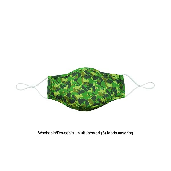 Snoozies Face Masks - 3-Layer Cloth Face Mask - Washable Fabric Face Mask Reusable with Filter Pocket - Adjustable Ear Loops - Resealable Pouch - 4 Disposable Filters Included - Camo
