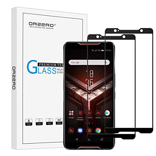 [2 Pack] Orzero for ASUS ROG Phone ZS600KL Tempered Glass Screen Protector [Full Adhesive], 2.5D Arc Edges 9 Hardness HD Anti-Scratch Full-Coverage [Lifetime Replacement Warranty]