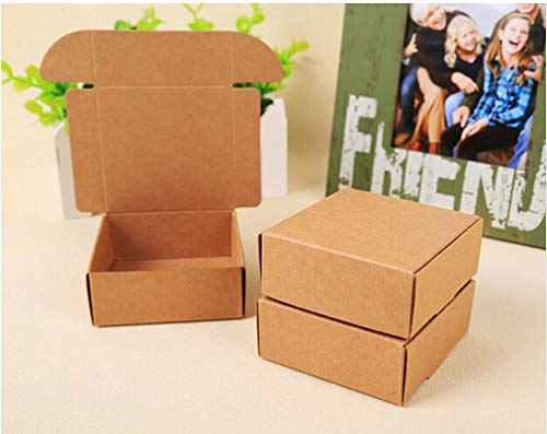 (Ranggrgt 100Pcs Kraft Paper Gift Packaging Box Custom Carton Cardboard Box Handmade Soap Jewelry Candy Packages Paper Box Small)