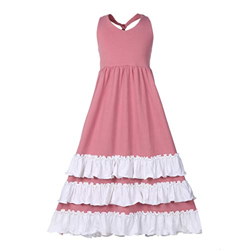 Girls Ruffles Maxi Dress Pink Color Halter Lace Fly Sleeve Cotton Party Dress Skirts (Backless Dusty Pink, 5-6T)