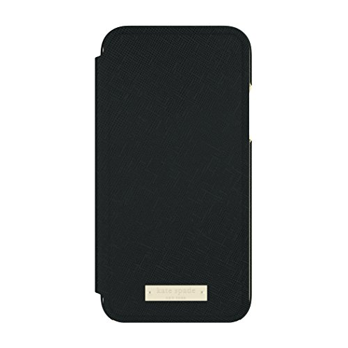 kate spade new york Folio Case for iPhone X - Saffiano Black/Gold Logo Plate