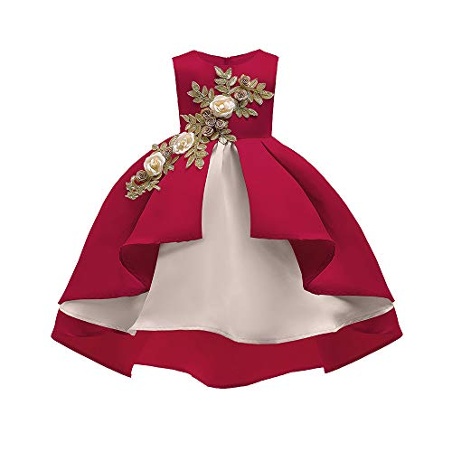 Matoen Baby Girl Princess Bridesmaid Pageant Gown Birthday Party Tutu Dress (12-24 Months, Red) -