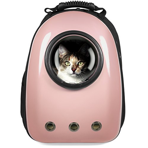 Best Choice Products Traveler Bubble Window Backpack Pet Carrier for Cats and Dogs - Rose Gold