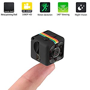 Mini Hidden Camera Smallest Camera Sports Recorder FPV 1080P HD Smallest Camera sq11 IR Night Vision Car Video DVR Portable Tiny Action Camera Monitoring Motion Detection invisible spy camera Black
