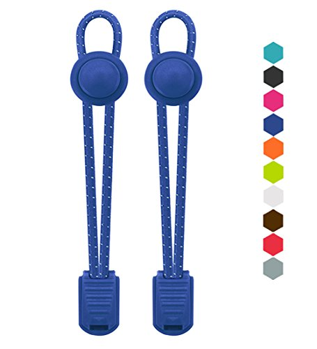 VESONNY Elastic No Tie Shoelaces - Reflective Shoe Laces with Lock for Kids and Adults, Stretch Sneaker Shoe Strings Quick Lacing System for Running, Hiking (Blue)