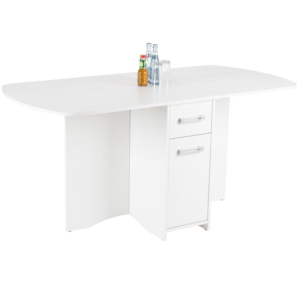 Tisch THEO matt weiß 160 x 80 cm klappbar Schubladen Esstisch Küchentisch