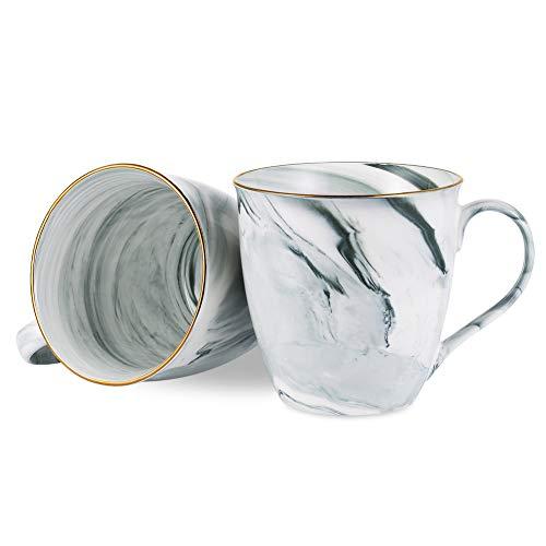 Hoomeet 20 oz Large Marble Coffee Mugs, Set of 2 (Cool Grey) (Coffee 2 Set Of Mugs)