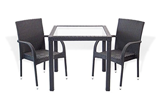 3 Pc Patio Resin Outdoor Wicker Dining Set Square Table 31,5 inch w/Glass and 2 Arm Chairs. Black Color ()