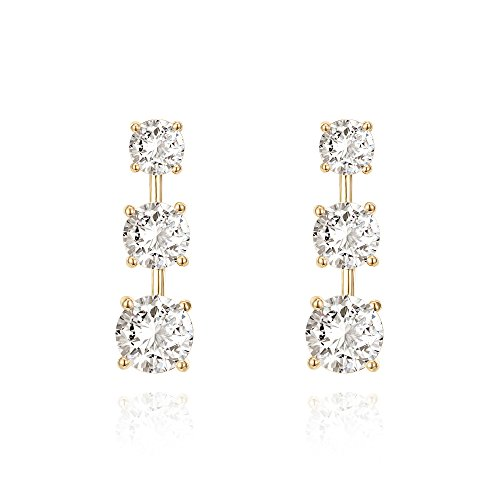 3 Stone Jewelry - PAVOI 14k Yellow Gold Plated 3-Stone Cubic Zirconia Drop Earrings