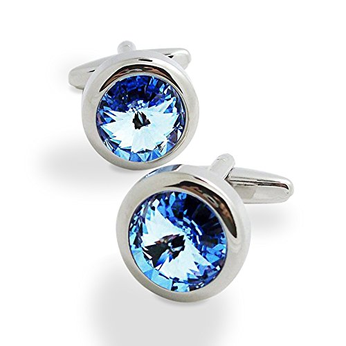 Covink Swarovski Crystal Cufflinks Blue and White Crystal Cuff Links with Gift Bag (Blue)