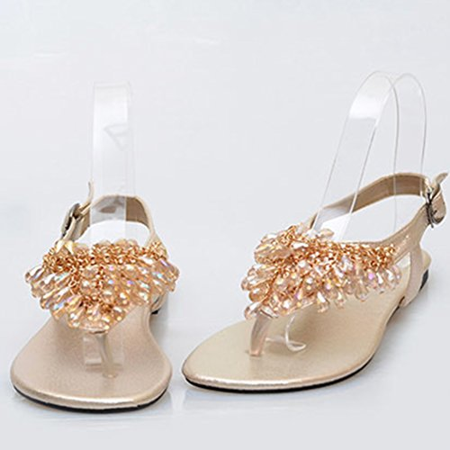 NiSeng Mujer Bohemia T-Correa Sandalias Diamante De Imitación Abrir Con Punta De Sandalias Planas Dorado