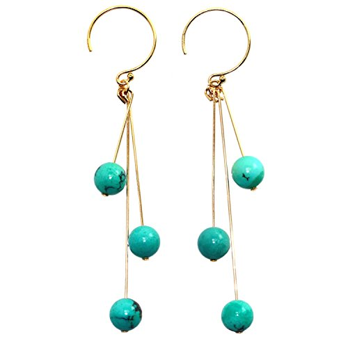 Handmade 14-kt Gold-Filled  Brass Stick Earrings with 6mm Beads Turquoise