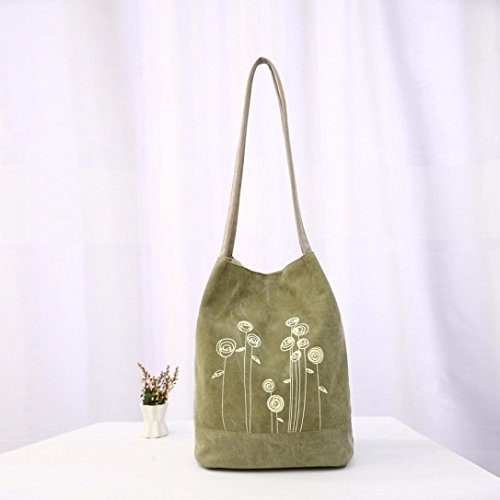 Fashion Vintage Green Women Floral Ladies Tote Canvas Bucket Ouneed Bag Casual EPtqvn