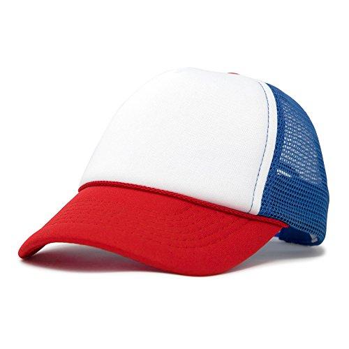 DALIX Baby Girls Boys Toddler Cap Trucker Hat Caps Childrens Infant Kids Hats (Red-White-Royal)