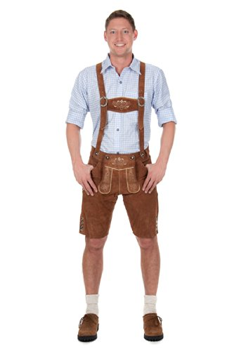 Bavarian Traditional Leather Trousers Lederhosen with Suspenders kastanienbraun 52 (36inch) Brown