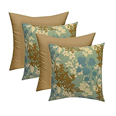 "Set of 4 - Indoor Outdoor 17"" Square Decorative Throw/Toss Pillows - Mineral Ivory Floral & Tan : Industrial & Scientific"