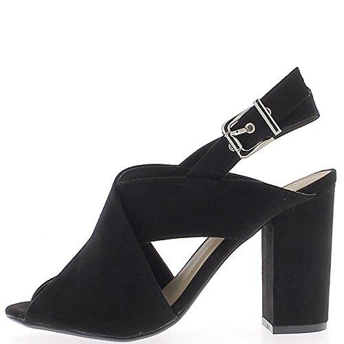Sandales look daim noires à talon carré de 10 cm