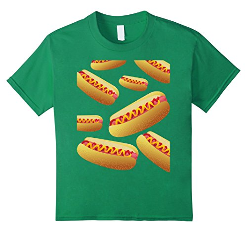 Child Hot Dog Funny Costumes (Kids Bunch Of Hot Dog Funny Halloween Costume T-shirt 12 Kelly Green)