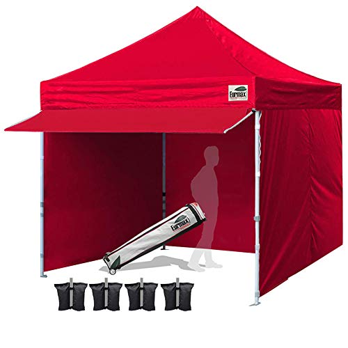 - Eurmax 10 x 10 Pop Commercial Tent Outdoor Party Removable Zippered Sidewalls and Roller Bonus 4 Canopy Sand Bags & 24 Squre Ft Extended Awning, 1# 10x10, Red