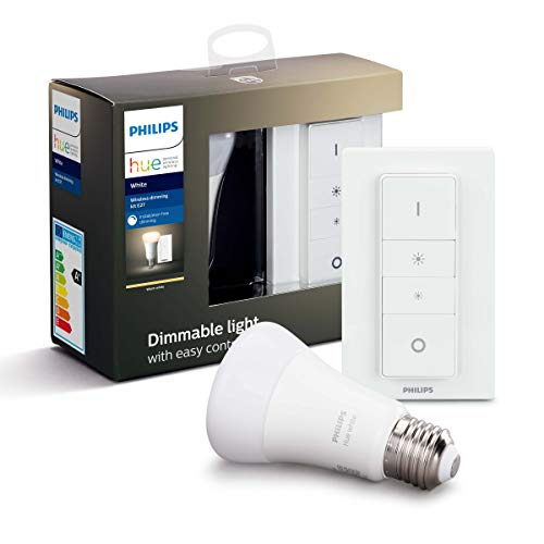 Philips Hue Draadloze Dimmerset – E27 – Duurzame LED Verlichting – Warmwit Licht – Incl. dimmer switch – Dimbaar…
