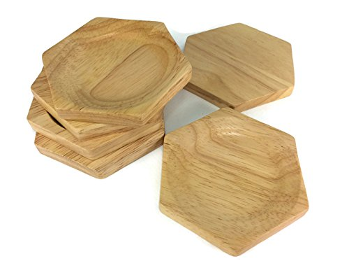 Coasters Wood Round Saucers Drink Handmade Teak Wood Holders Dispensers Cup Holder 6 Pieces