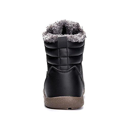 SITAILE Herren Winter Warm Gefütterte Boots Schneestiefel Schnürstiefel Waterproof Rutschfeste Stiefel Winterschuhe Outdoor Schwarz