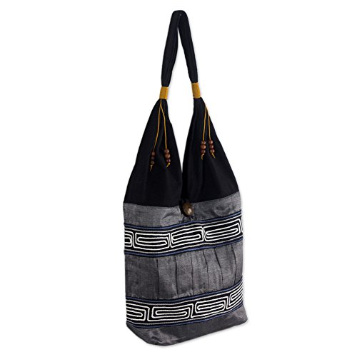 Handmade Embroidered Cotton Top (NOVICA Dark Grey and Black Cotton Handmade Embroidered Shoulder Bag, 'Music')