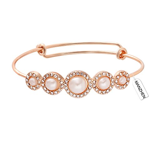 MANZHEN Expandable Adjustable Wire Bangle Bracelets with Rhinestone Pearl Bridesmaid Gift (Rose Gold) ()
