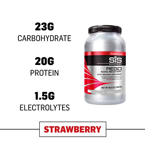 Science in Sport Rego Rapid Recovery Protein Shake Powder, Strawberry Flavor Post Workout Supplement Drink - 3.52 lb