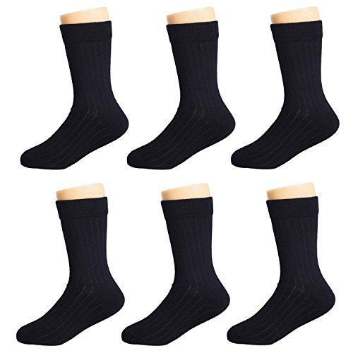 IMOZY Crew Socks for Girls- Classic Solid Black Cotton Dress & Trouser Socks- 6 Pack Girls' School Uniform Socks- Sock 4-6Years/ Shoe 10.5-13.5 for Little Girls