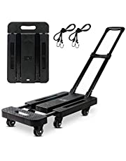 Folding Hand Truck 400 lbs Capacity,6-360° Rotating Wheel Folding Trolley Luggage Cart Platform Cart for Luggage, Travel, Shopping, Auto, Moving and Office Use