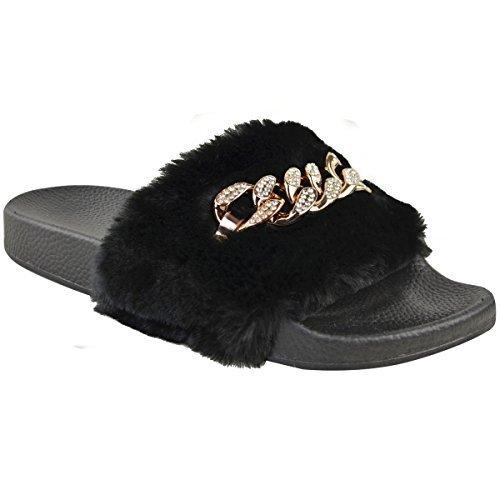 Fashion Thirsty Mujer pedrería Chain Slider Sin Cierres Caucho Sandalias Pantuflas Negro Piel Sintética / de color Dorado Cadena