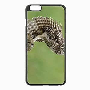 iPhone 6 Plus Black Hardshell Case 5.5inch - owl tree stump sitting stretching feathers Desin Images Protector Back Cover