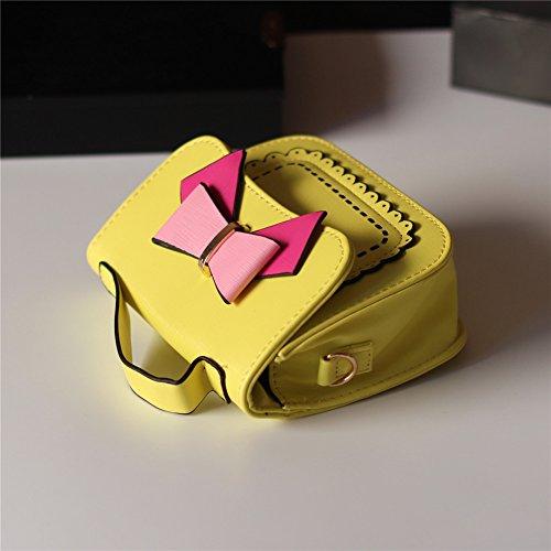 Pueri Mini Bolsa de Mensajero para Muchachas Bolso Pequeño de Mano Decoración de Lazo Lindo Amarillo