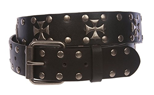 Antique Silver Cross and Circle Studded Black Belt, Black | S/M - 31 - Circle Studded Black Belt