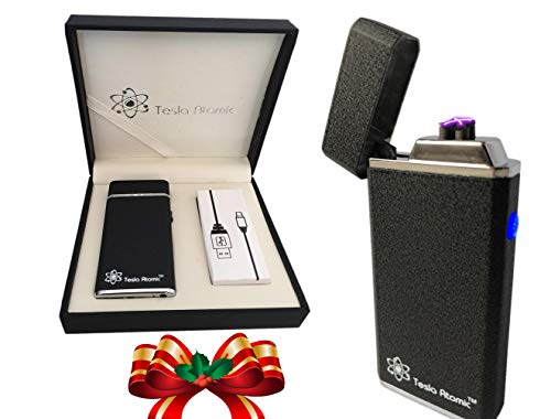 Tesla Atomic Original Lighter Improved Open-top Dual arc Plasma Lighter for Cigarettes, Cigars, Pipes, Candles.USB Rechargeable. Unlike Zippo Needs no Fuel. Replaces Old Single arc
