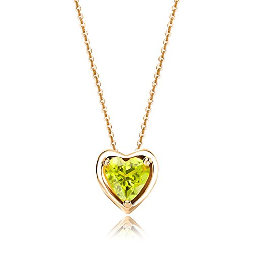 (Carleen Solid 14K Yellow Gold Birthday Heart Shape Gemstone August Solitaire Peridot Birthstone Necklace Pendant Delicate Dainty Fine Jewelry for Women Girl, 18 inch)