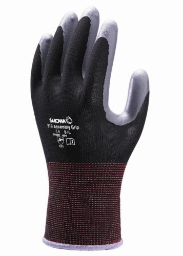 10 Pairs Showa 370 Black Assembly Grip Gloves Nitrile Coated Palm Size 9 XL