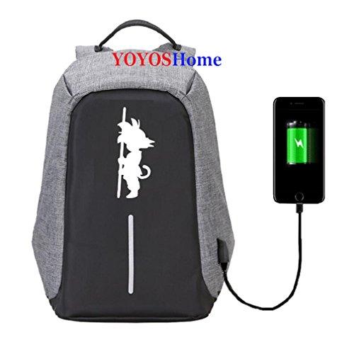 YOYOSHome Luminous Japanese Anime Cosplay Daypack Bookbag Laptop Bag Backpack School Bag with USB Charging Port (Dragon Ball (Dragon Ball Z Wigs)