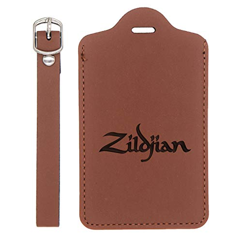 (Zildjian Cymbal Engraved Synthetic Leather Luggage Tag (Chestnut Brown - Set Of 2) - United States Standard - Handcrafted By Mastercraftsmen - For Any Type Of Luggage)