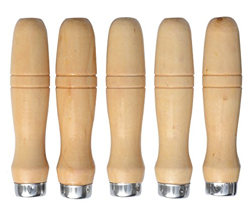 Wooden File Handle with strong metal collars For 8.5''-15'' File (5 pack) (Large)