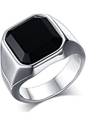 Mealguet Jewelry Fashion Stainless Steel Signet Ring with Black Agate for Men